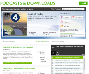The Today programme podcasts page.